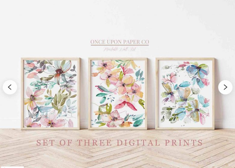 image of 3 flower prints for sale