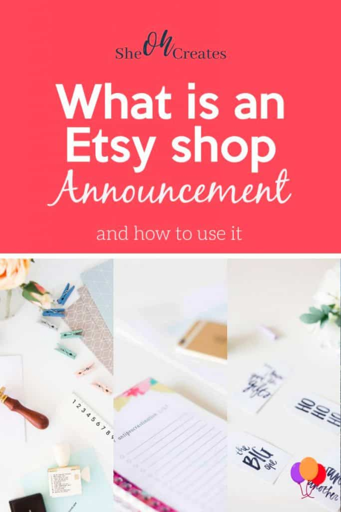 image with papers and text what is an etsy shop announcement