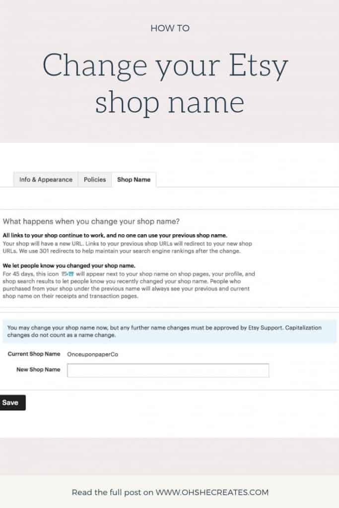 image of etsy screen showing how to change your etsy shop name