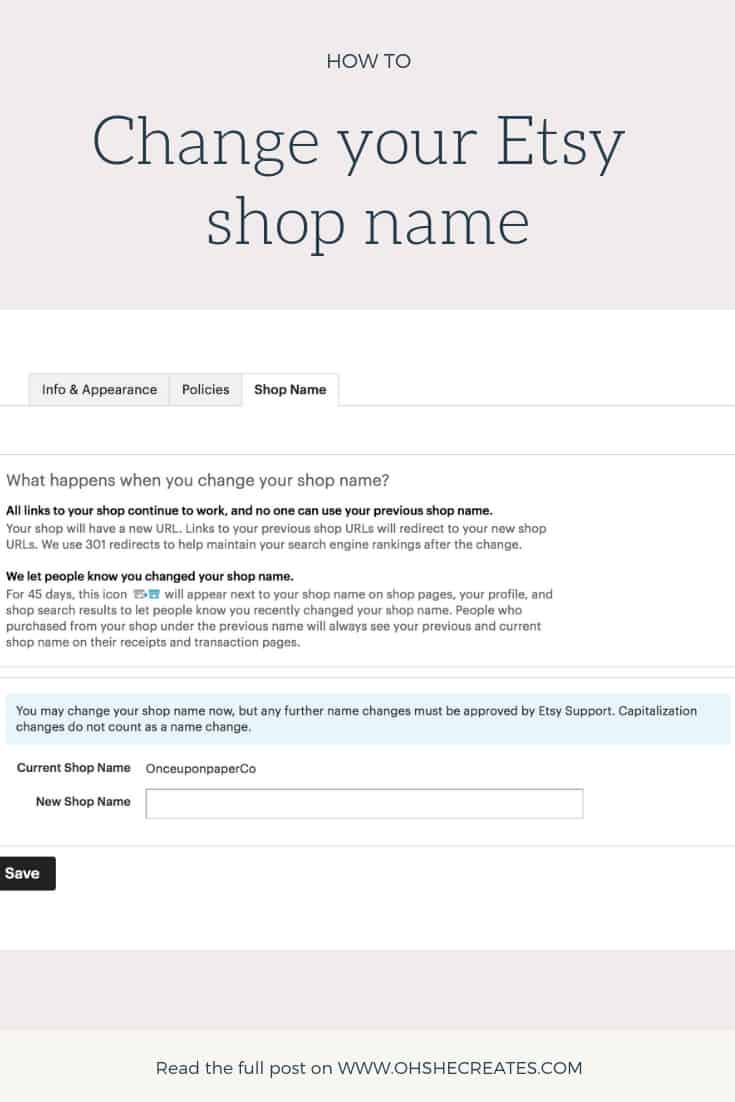 Screen shot of Etsy - how to change your Etsy shop name