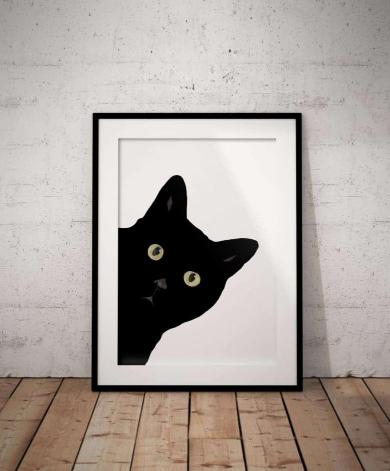 image of black cat print for sale on Etsy