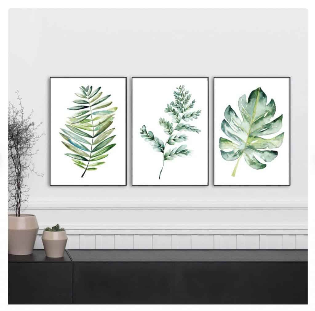 image of 3 best selling prints of leaves on etsy