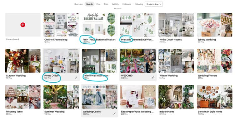 Image showing Pinterest boards with hightlighted boxes.