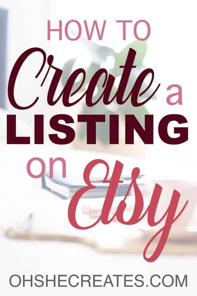 Text on image how to create a listing on Etsy