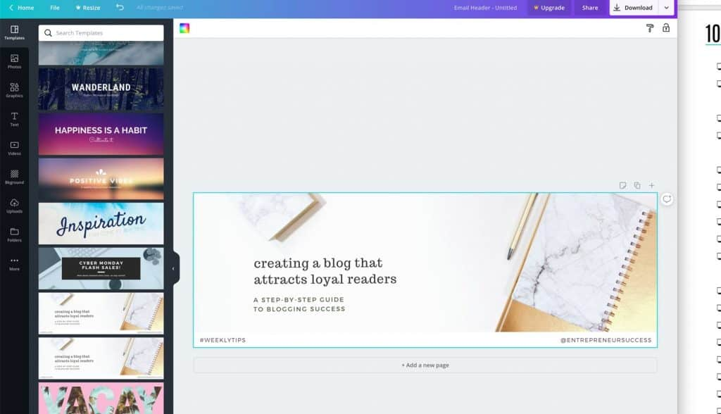 Canva image the email header showing suitable for newsletter template