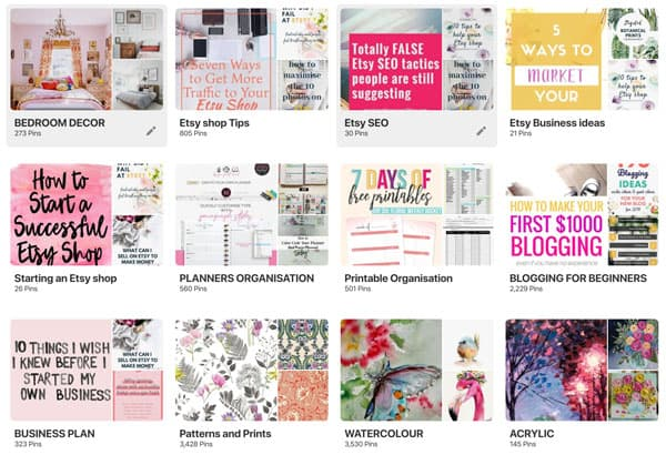 Image showing Pinterest boards for Etsy shops