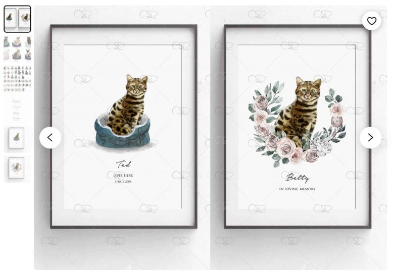 Personalised cat prints on etsy