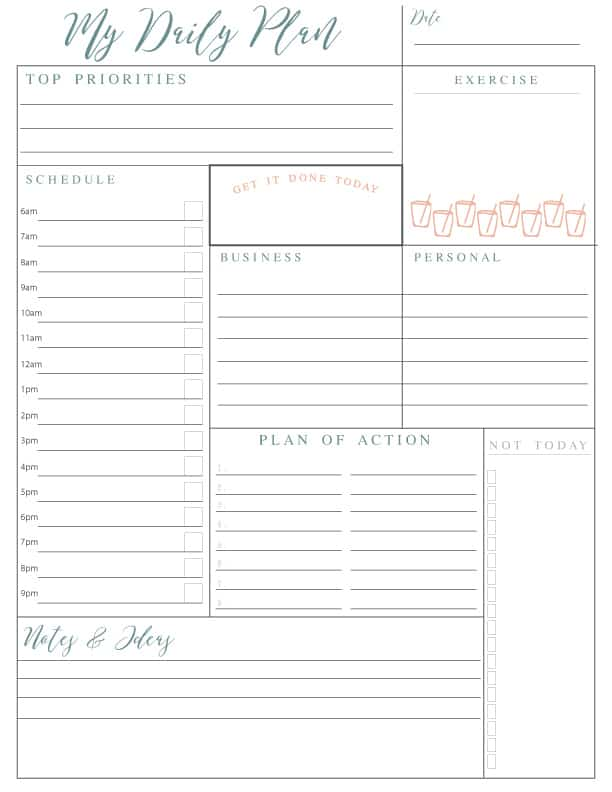 Daily plan organiser printable free
