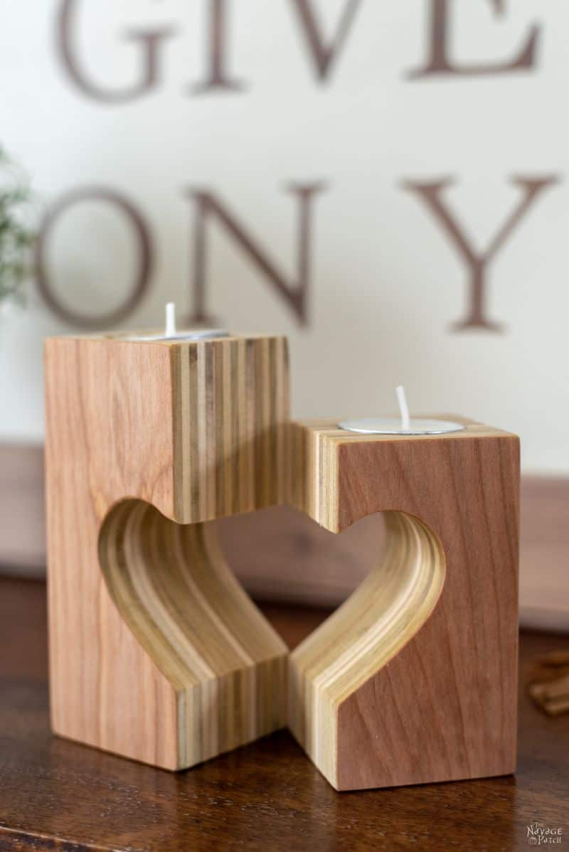 DIY wooden candle holders with heart details