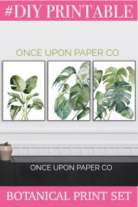 Image of 3 prints in square format with the words DIY PRINTABLE botanical