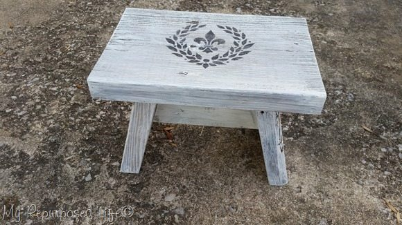DIY small wooden stool with stencil details