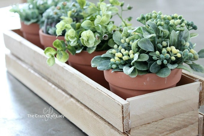 Wooden planter box with pot plants on table