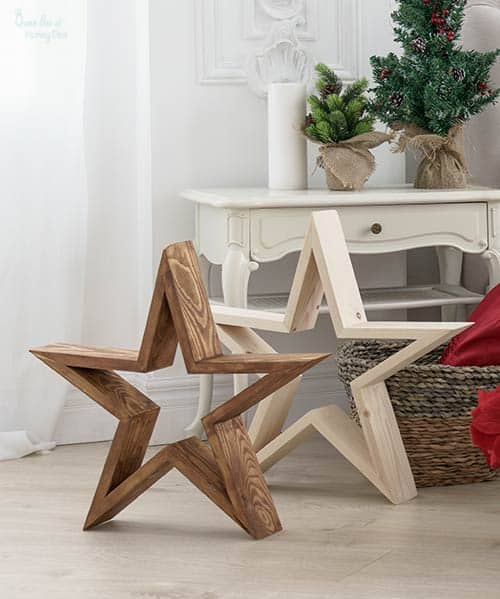 Wooden stars to make DIY image with home background