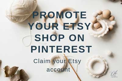 image of crochet tools with the words Promote your etsy shop on pinterest