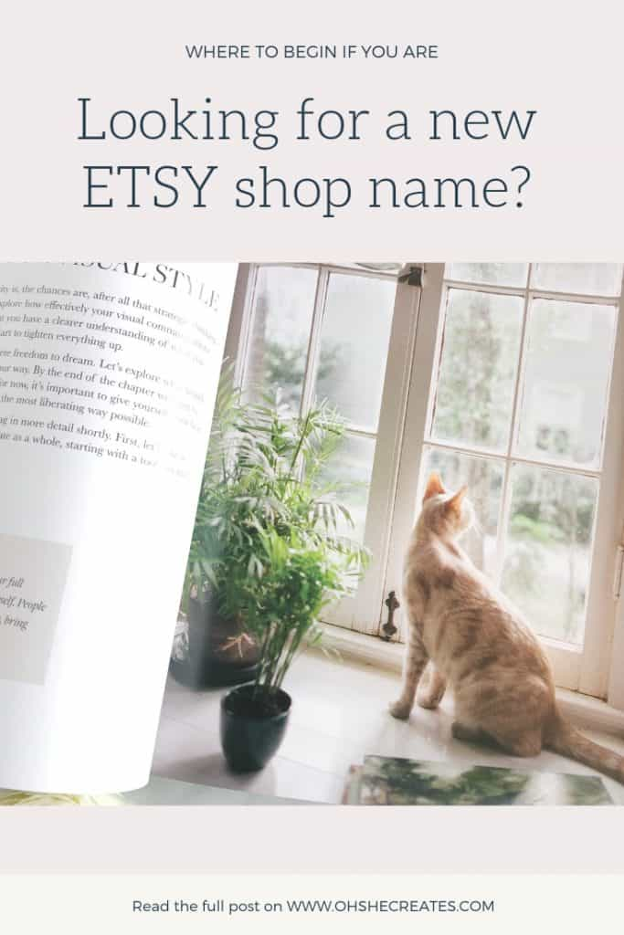 image of cat in a book with the words looking for a new etsy shop name