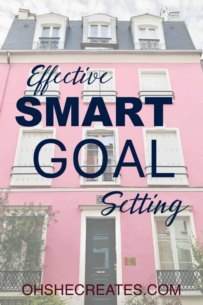 Effect smart goal setting text with pink building in background