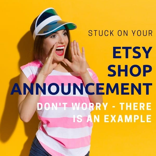 Image with shouting women with the text ETsy shop announcement