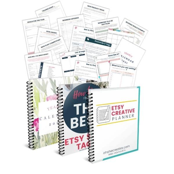 image of full etsy shop planner kit