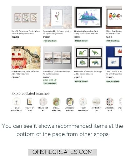 image of suggestions on etsy