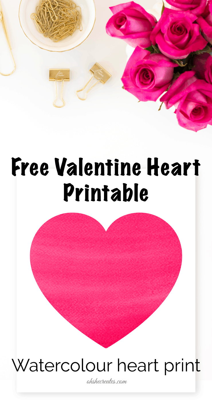 Pink Heart with flowers and gold elements on a white background with the text Free Valentine Heart printable