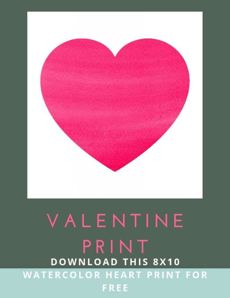 valentine print watercolor heart print for free
