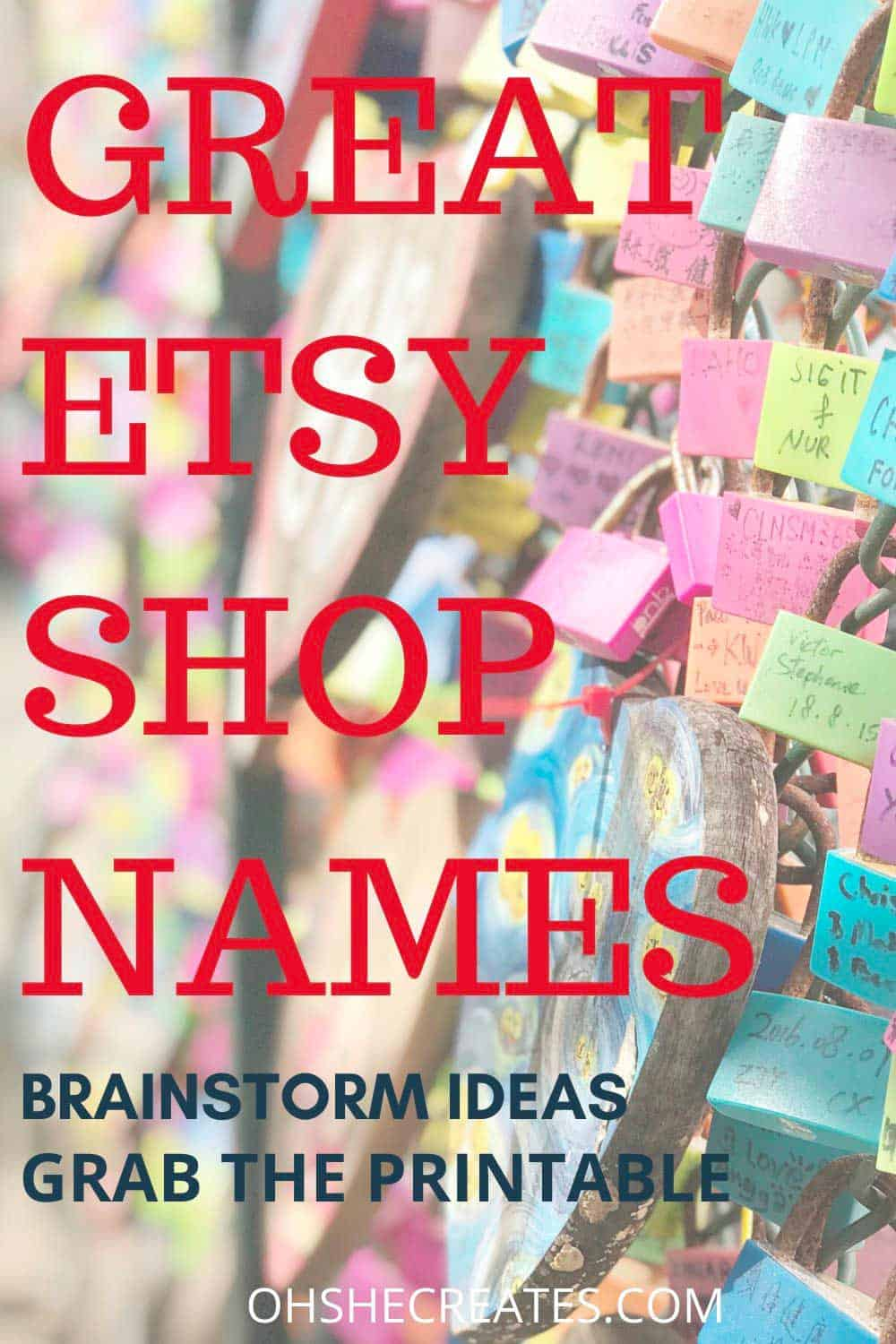 Text Great etsy shop names with key locks in the background