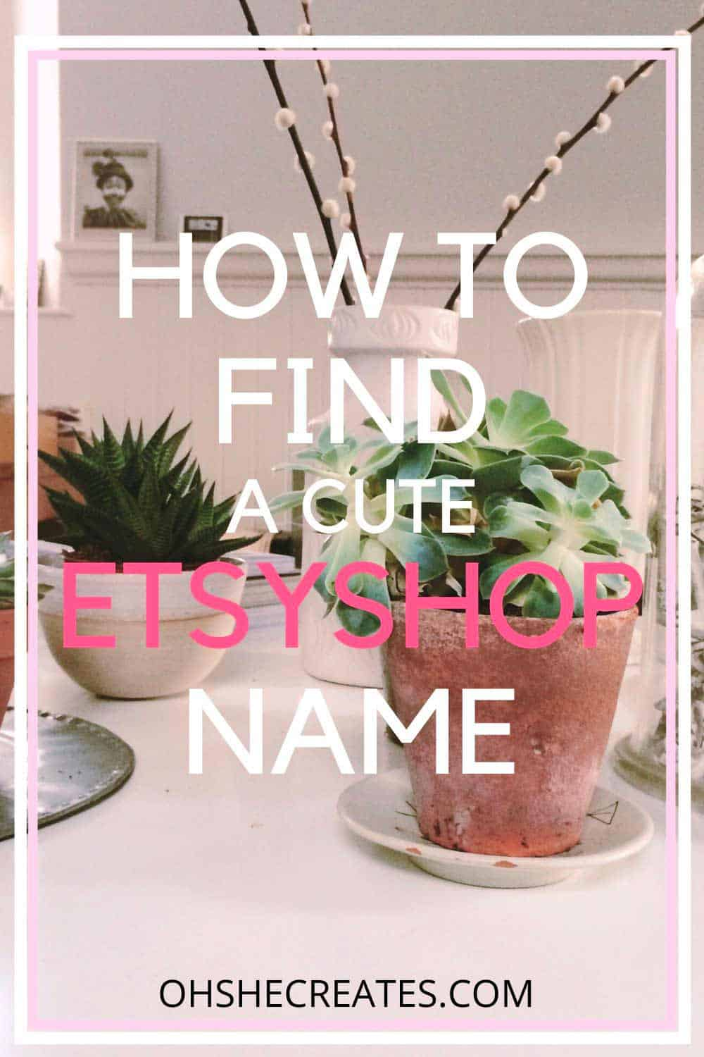 Text How to find a cute Etsy shop name with a cactus plant background