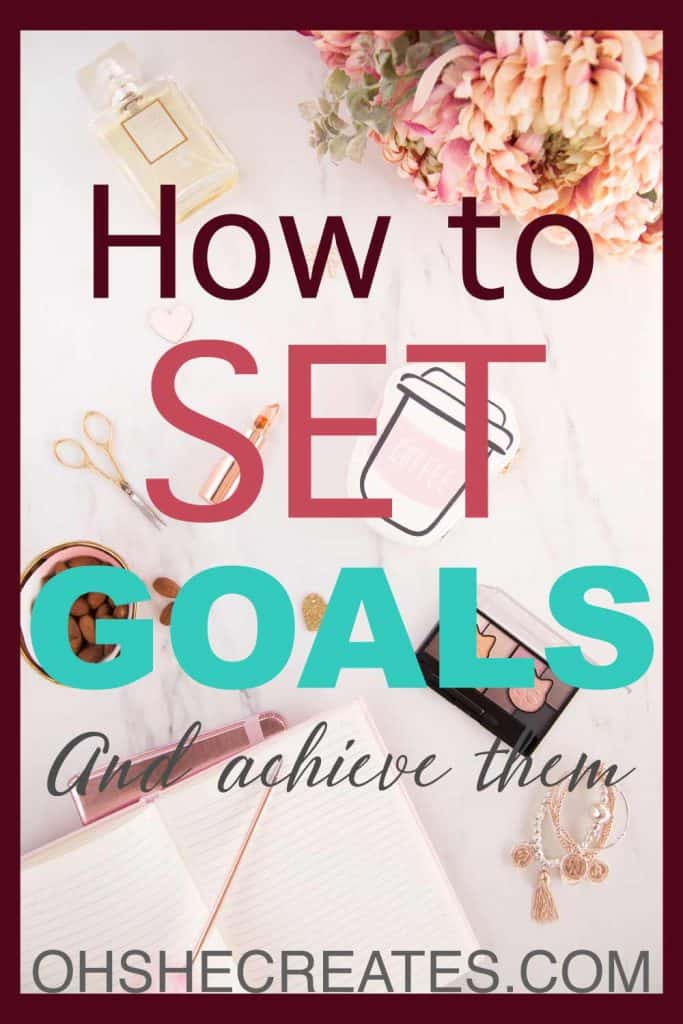 How to set goals and achieve them text with desk background