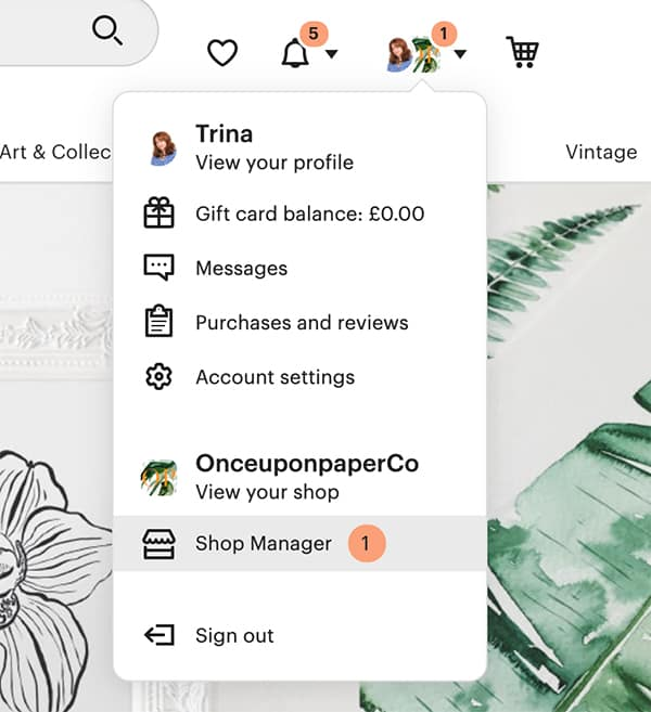 Image of Etsy shop manager link on ETsy
