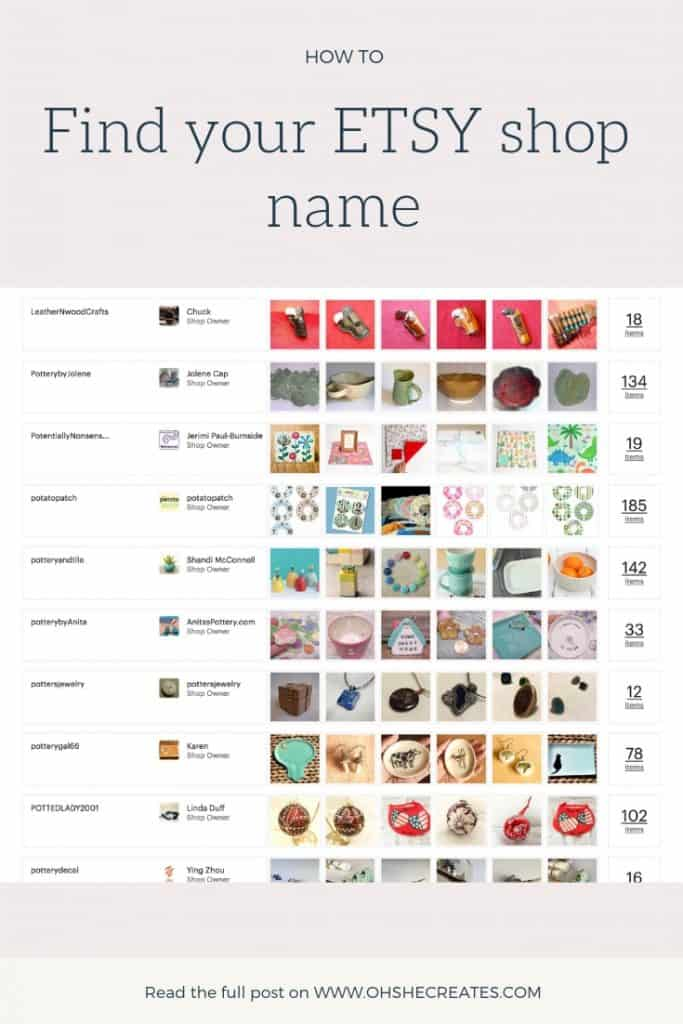image showing etsy shop lists and the text find your etsy shop name