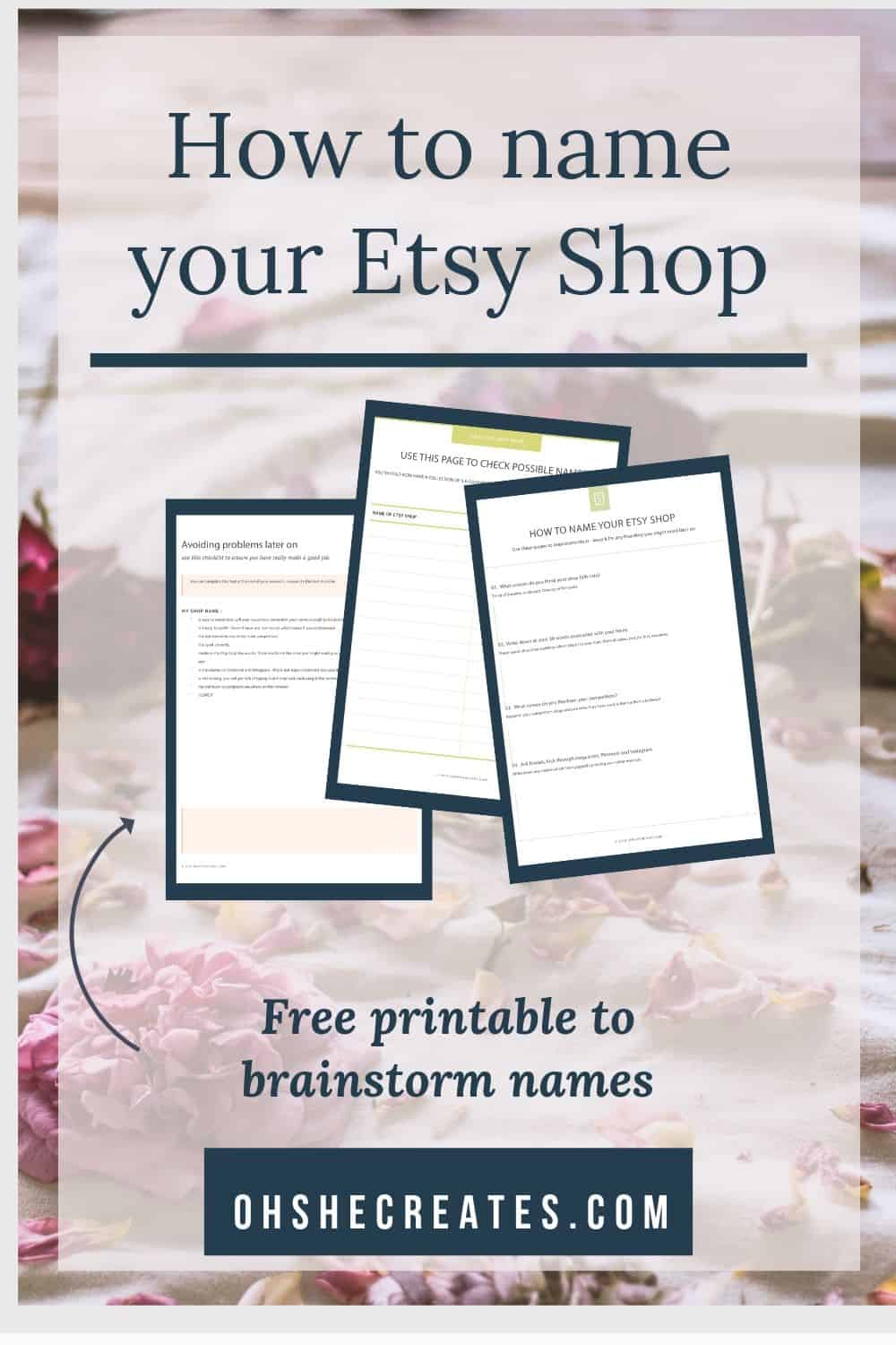 How to name your etsy shop - printable