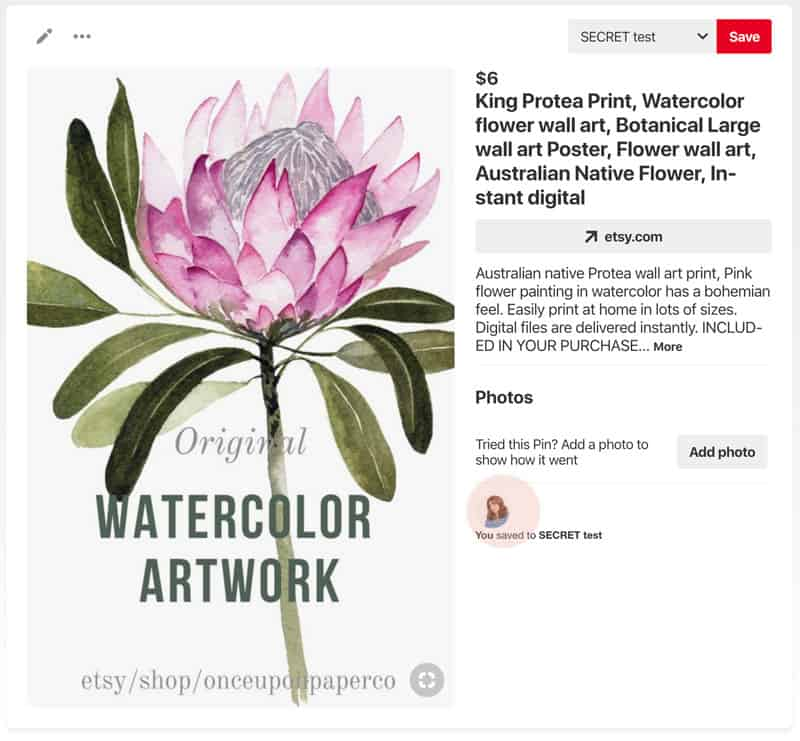 Image showing pinned image of wall are watercolour protea