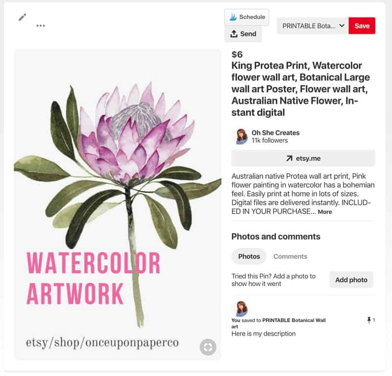 Image showing pinable image of Etsy listing of printable Protea art