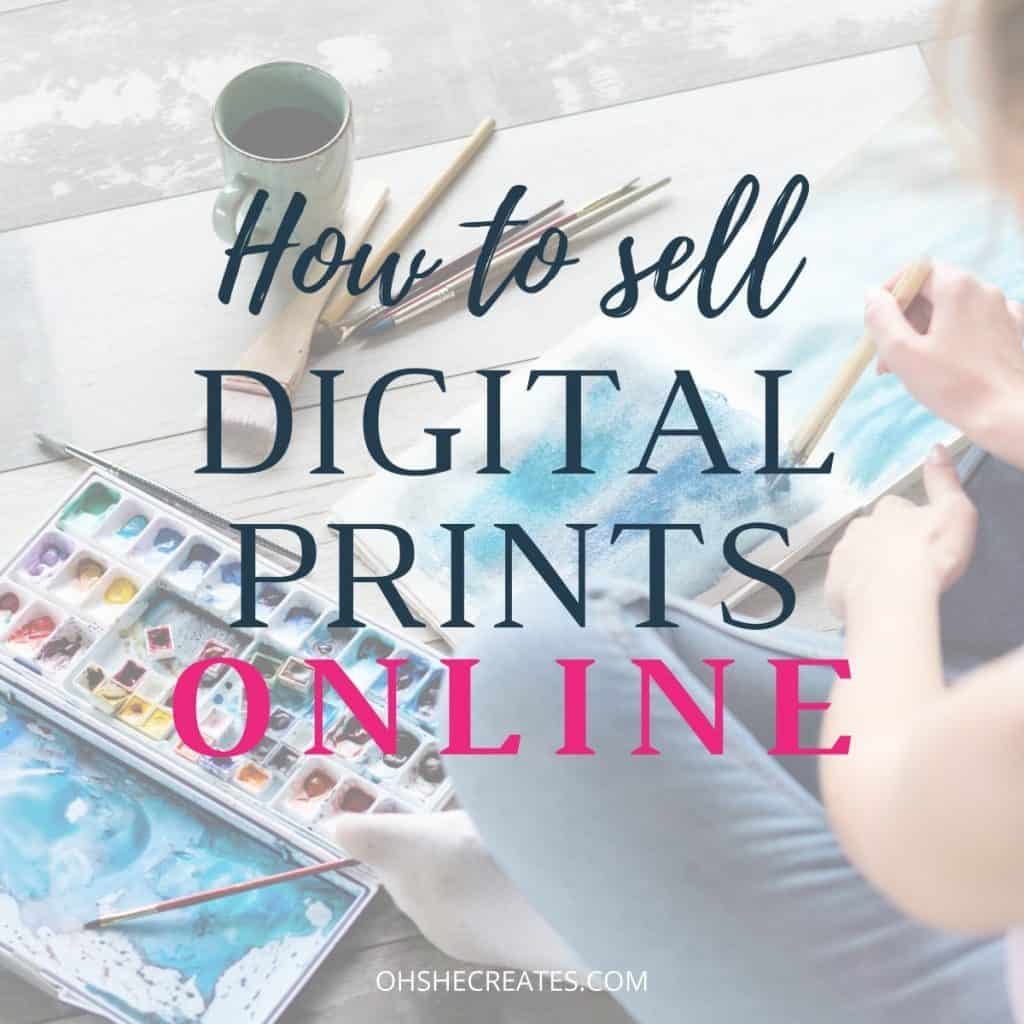 How to sell digital prints online with watercolor background