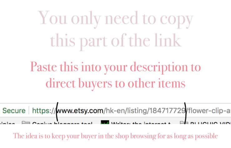 Image highlighting linking process in Etsy