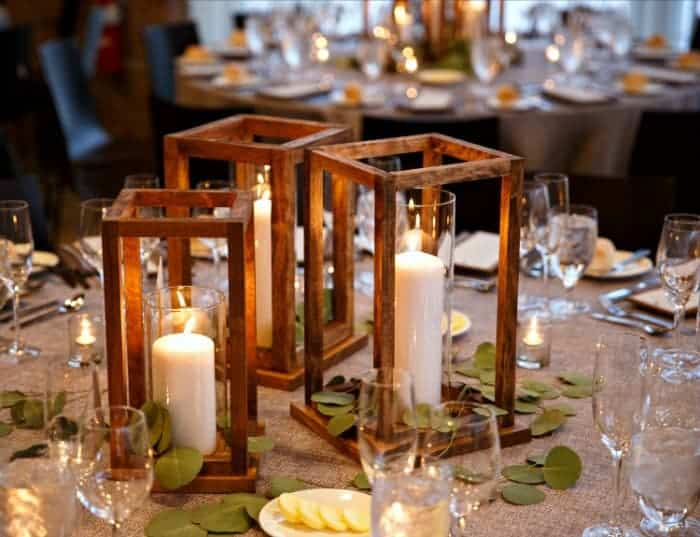 Image with Wooden lanterns and candles