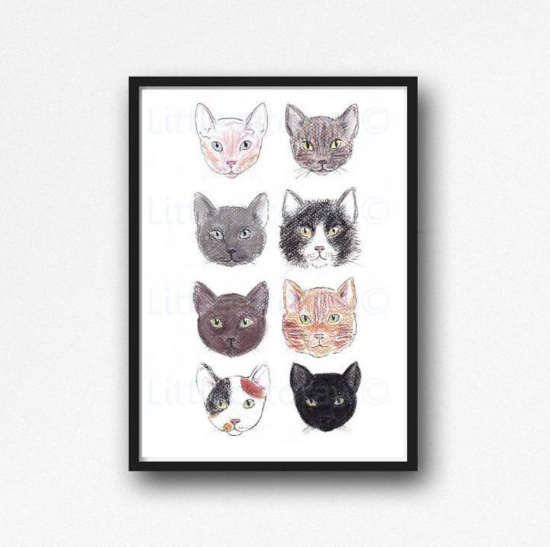 image of cat faces in drawing print