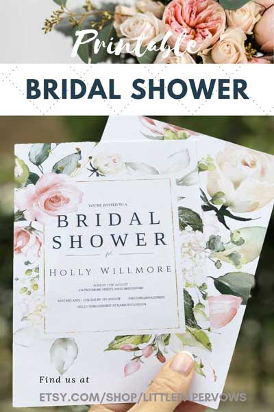 Image showing bridal shower invite pinned image with the words printable bridal shower