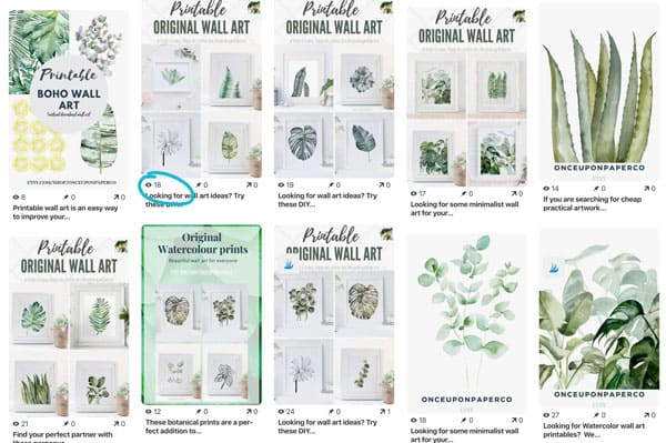 image showing pins on Pinterest promoting wall art