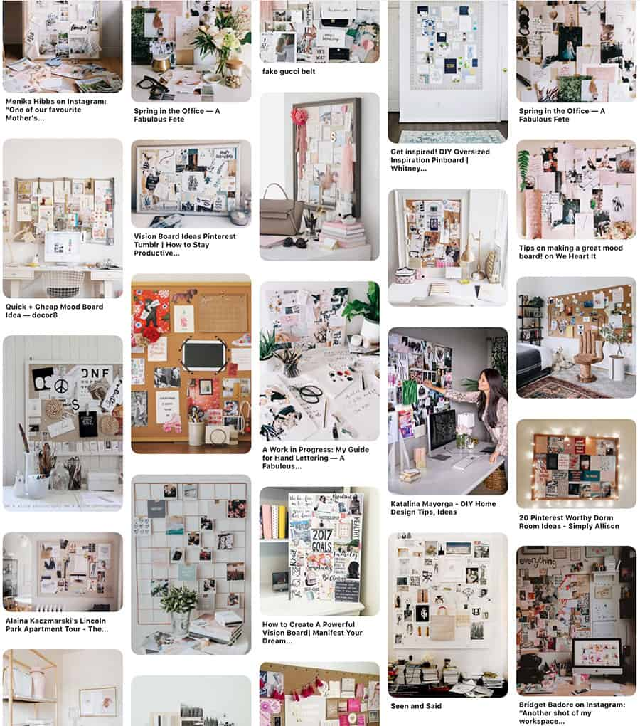 Pinterest image of mood boards