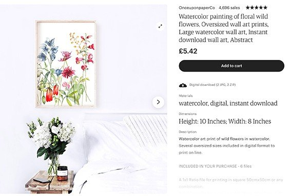 Image of watercolour print mock up on ETsy
