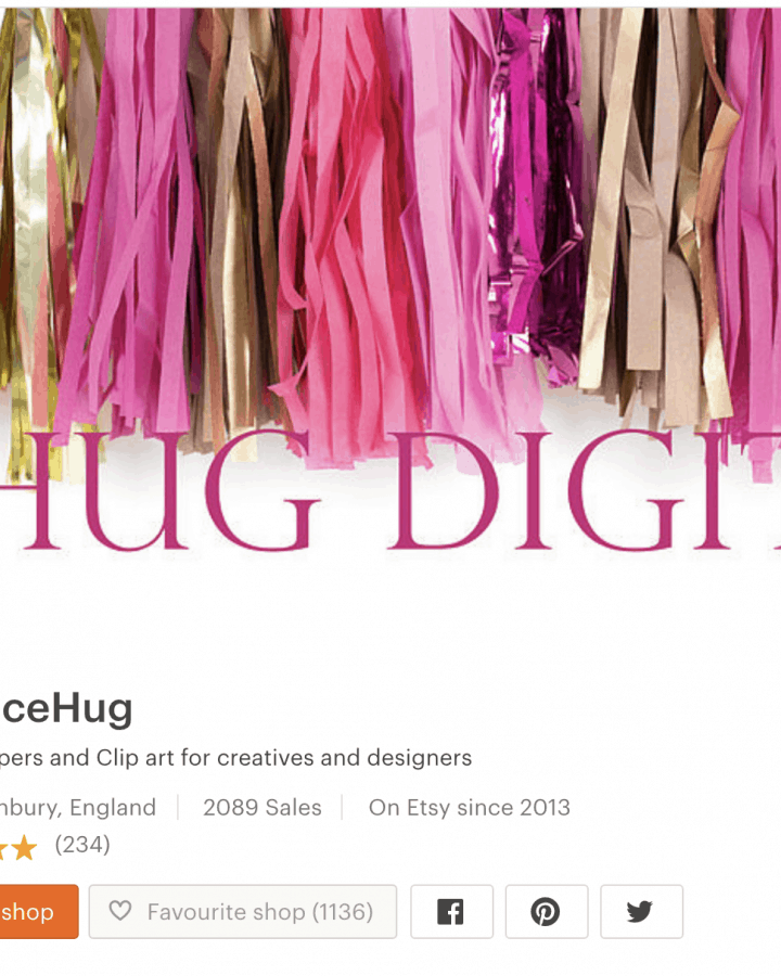Shop banner on Etsy with paper tassles