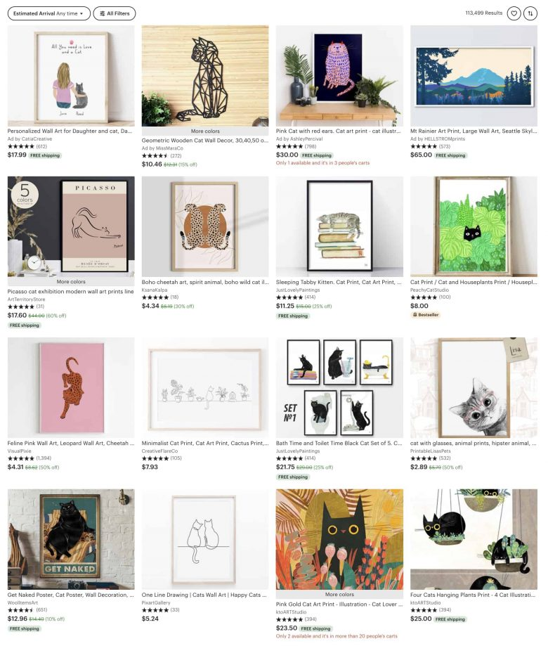 screenshot of cat prints for sale on Etsy