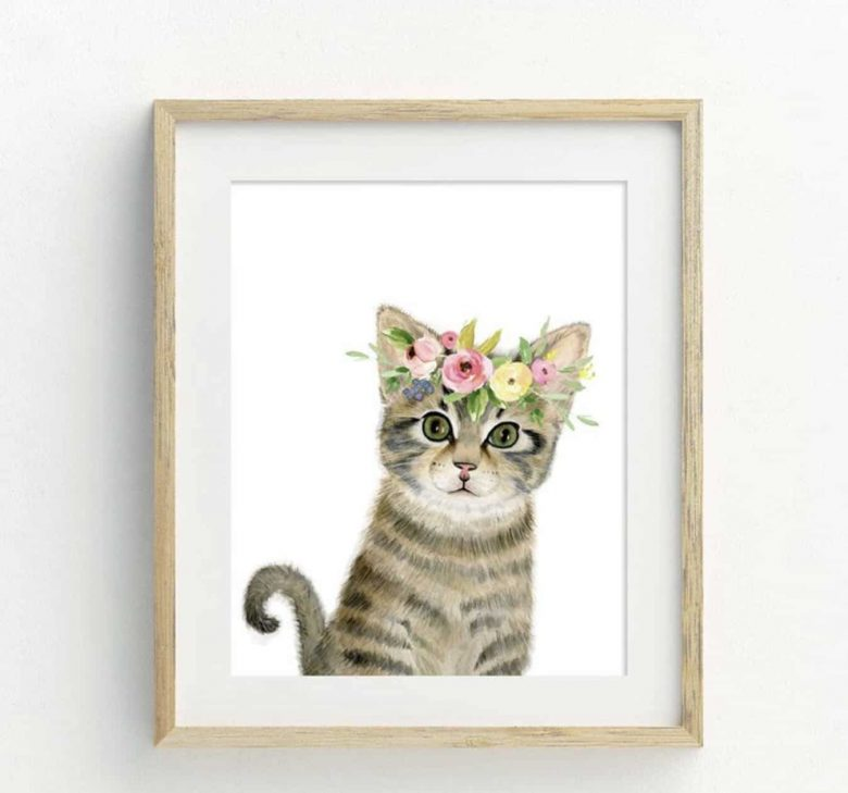image of cat print for sale on Etsy