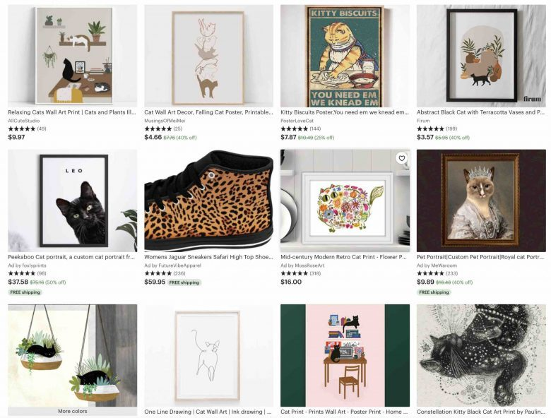 image of search results for cats in etsy