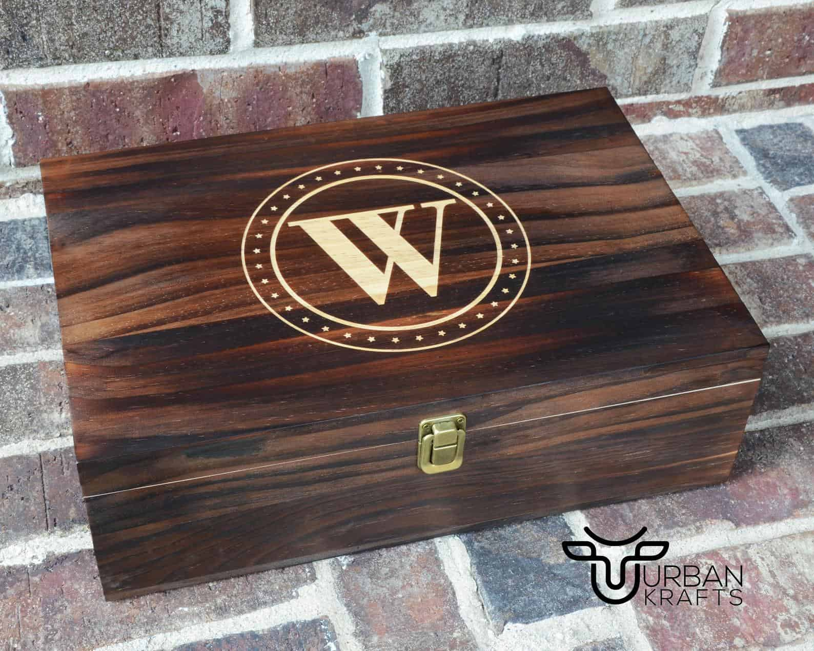 Woodworking box with monogram on the front