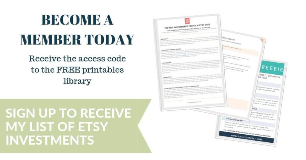 sign up to receive list of Etsy investments
