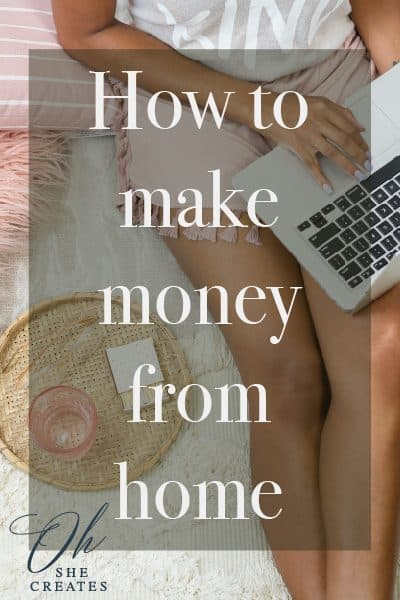 women in shorts on bed with laptop open with the words How to make money from home.