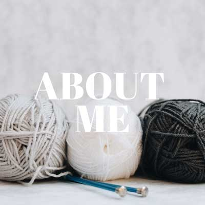Image with knitting balls with about me in writing