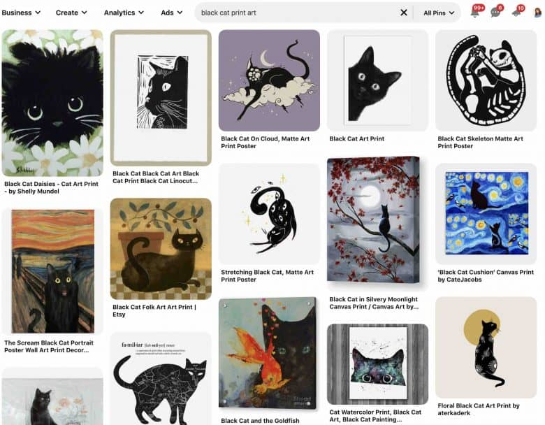 screen shot of Pinterest results for cats